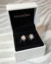 PAIR OF GENUINE PANDORA ST. SILVER SHINING LINE PAVE CLIPS 791972CZ IN CHARM BOX