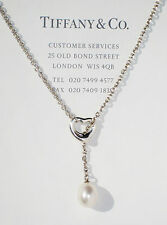 Tiffany & Co Elsa Peretti Silver Open Heart Small White Pearl Lariat Necklace