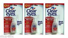 Clear Eyes Redness Relief Pack of 3 0.2 FL OZ (6 ml) Handy Pocket Pack Exp: 6/19