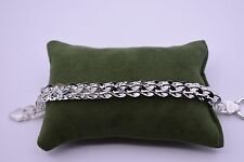 "BAYAM 7.5"" Technibond Hammered Interlocked Link Bracelet Sterling Silver 925 QVC"