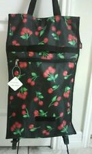 Travel Rolling Shopping Tote Bag with Wheels,foldable, black color new free ship