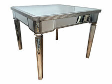 NEW Mirrored glass dining table, antique silver wood edging 80cm h x 101 x 101cm