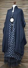 LAGENLOOK LINEN OVERSIZE AMAZING 2 PCS DOTS DRESS+LONG JACKET***NAVY***XL-XXL