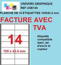 500 planches de 14 etiquettes 105 x 42.4mm soit 7000 etiquettes ref  a4 UGE14A