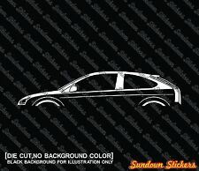 2X Car silhouette stickers - for Ford Focus Mk2 hatchback 3-door, 2004-2010