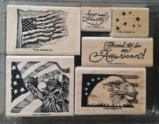 Stampin' Up LIBERTY FOR ALL Set 6 Mounted Rubber Stamp Lot American Flag Eagle