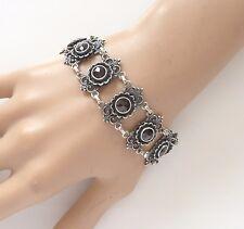 Antique Rose Cut Bohemian Garnet 835 Silver Link Bracelet Ornate Art Nouveau