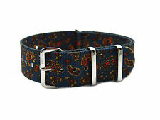 HNS ZULU Graphic Printed Vintage Navy Paisley Pattern Nylon Mod Watch Strap