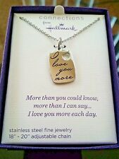 """New Women's 18"""" Necklace Silver- """" I Love You More"""" Dog Tag. with Gift Box"""