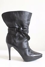 ALDO ANKLE BOOTS Black Leather 2 Way Stiletto Pull On Booties UK Size 6
