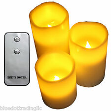 FLAMELESS LED PILLAR CANDLE SET-3 FLICKER INFRARED REMOTE *BRAND NEW*