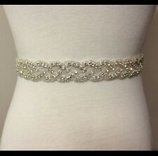 ivory Wedding Belt Sash, Swarovski beaded sash