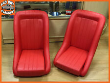 Pair BB1 RED Classic Style Clubman Bucket Sports Seats UNIVERSAL