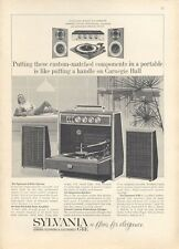 1965 Sylvania Stereo Console Garrard Turntable ART PRINT AD