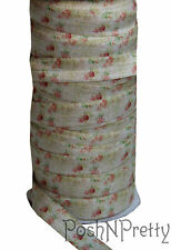 Designer 3 Yards 5/8 Print Fold Over Elastic Stretch FOE - Shabby Creme Roses