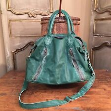 NEW TANO FREE PEOPLE WEEKENDER MESSENGER CROSS BODY BAG GREEN LEATHER