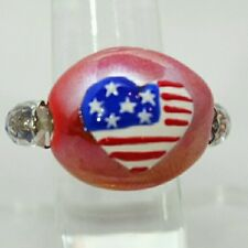 """1"""" Red Blue & White AMERICAN FLAG Heart Bead Stretch Band Cocktail Ring Gift"""