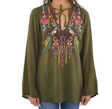 Orig $247 NWT Johnny Was SERENDIPITY EMBROIDERED TUNIC top Olive BIRDS X-Large