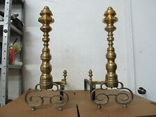 Vintage Antique Brass Forged Wrought Iron Fireplace Grate Firedogs Andirons