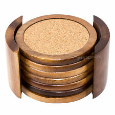 Set of 6 Wooden Round Coasters With Holder Cork Tea Cup Mat Acacia Coffee Mug