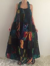 Women's Racer back Summer Boho Casual Patched Maxi Long Dress Size 10-12-14-16