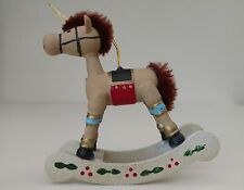 Vintage Wooden Rocking Horse Christmas Ornament - Rare - Nursery - Baby