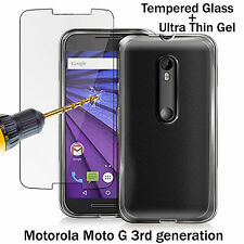 Ultra Thin Gel Case Cover + Tempered Glass For Motorola Moto G 3rd Generation