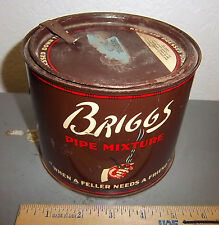 vintage Briggs Pipe Mixture tobacco tin, great graphics & colors, round style