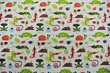 Frogs Turtles Lizards Snakes Snails Bugs Flannel Fabric 2 Yds