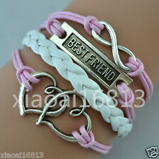 Infinity BEST FRIEND Double Hearts Charms Leather Braided Friendship Bracelet