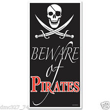 1 Party Decoration Prop PIRATE SKULL Jolly Roger BEWARE OF PIRATES DOOR COVER