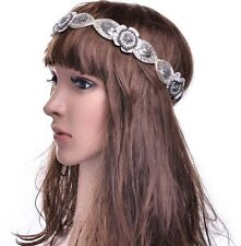 VINTAGE DECO FLAPPER 20s IVORY Pearl DIAMANTE BEADED HEADBAND WEDDING BRIDAL