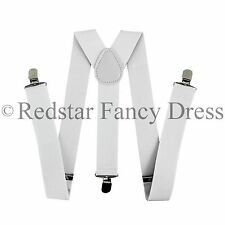 MENS WHITE 35MM WIDE ADJUSTABLE BRACES ELASTIC FANCY DRESS GANGSTER ACCESSORY