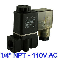 1/4 Inch Normally Closed Air Water Zero Pressure Electric Solenoid Valve 110V AC