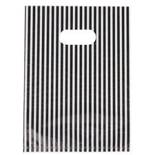 100pcs White&Black Stripes Plastic Flat Carrier Bags Fit Shopping Wholesale L