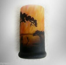 Daum Nancy vintage art glass cameo vase with trees, lake and boats - marked