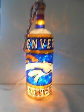 Denver Broncos Inspiered Bottle Lamp Handpainted Lighted Stained Glass Look