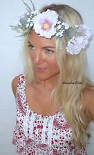 Pale Purple Pink Hollyhock White Green Leaf Crochet Flower Crown Choochie Choo