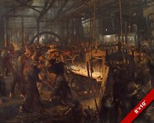 IRON WORKERS IN THE ROLLING MILL PAINTING ADOLPH MENZEL ART REAL CANVAS PRINT