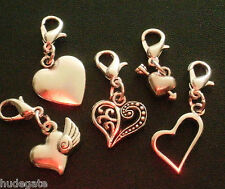 10 Mixed Silver Tone Valentine Heart Clip on Charms for Bracelets & Jewellery