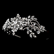 Vintage Inspired Silver Swarovski Crystal Pearl Side Accent Bridal Prom Headband