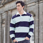 Front Row FR08M Sewn Stripe Rugby Shirt Mens Long Sleeve Polo Cotton Tee S-2XL