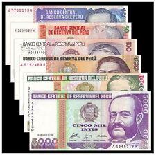 Peru Banknotes Set 6pcs (UNC) 全新 秘鲁6枚一套(10-5000印蒂)人物版套币