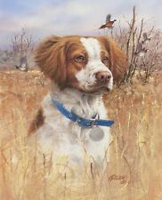BRITTANY DOG HUNTING PHEASANT-Killen ART on One16 inch Fabric Panel to Sew