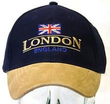 SOUVENIR GIFT - LONDON ENGLAND UNION JACK NAVY CAP HAT WITH SUEDE PEAK - OLYMPIC