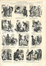 CARICATURES CHAM INVALIDES POLICHINELLE FEVE FETE DES ROIS  1873
