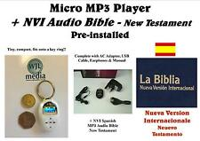 White Micro MP3 Player +AC Adaptor +Spanish NT MP3 Audio Bible - FREE P&P!!