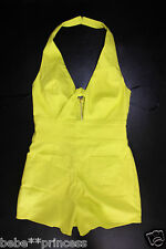 NWT BEBE yellow halter cutout chest zipper back dress top romper sexy M medium