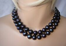 15 mm - 13 mm NATURAL BLACK TAHITIAN PEARL NECKLACE with MAROON &GREEN OVERTONES