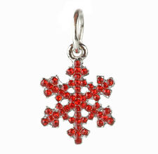 European 925 Silver Snowflake CZ Charm Beads Fit sterling Necklace Bracelet C#90